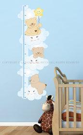 Il Metro Orsetti sulle Nuvole adesivi da muro per la camera dei tuoi bambini