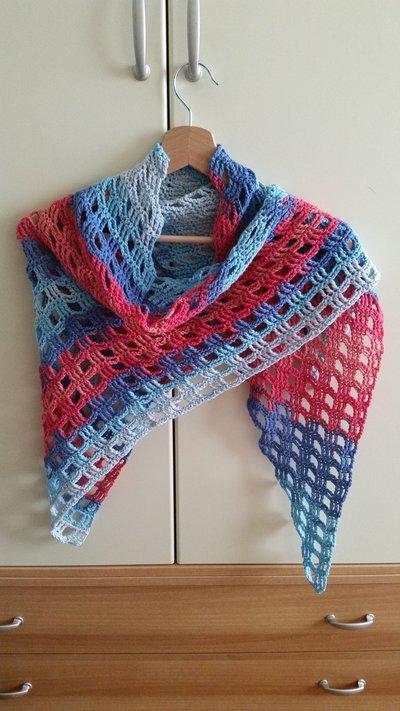 Sciarpa/scialle misto cotone nei toni del rosso, azzurro e blu