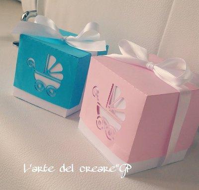 35 scatole bomboniera porta confetti modello carrozzina segnaposto per nascita e battesimo