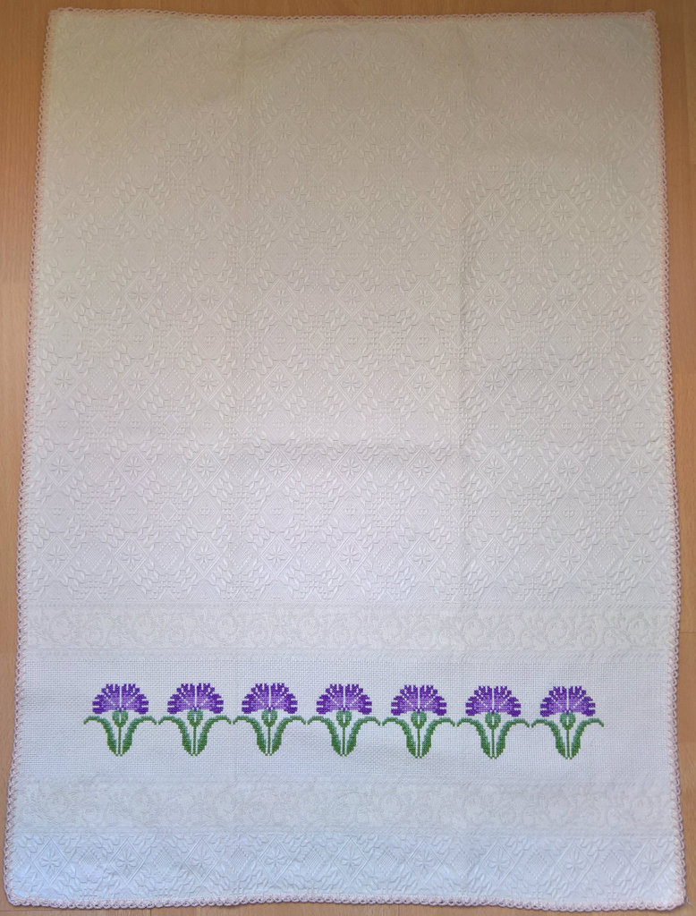 "Asciugapiatti beige ""fiori"" in cotone 100% biologico ricamato a punto croce"