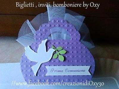 Bomboniera / borsetta / lilla / battesimo / nascita / Comunione.