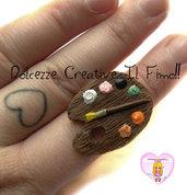 Anello con tavolozza di colori - Pittrice - kawaii handmade idea regalo - passion