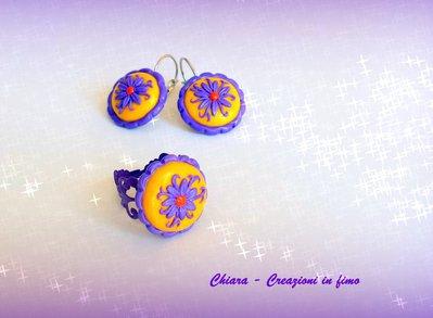 Parure in fimo handmade elegante romantica con fiori in rilievo viola giallo idea regalo donna idea regalo