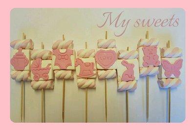 Spiedino Marshmallow rosa confetto