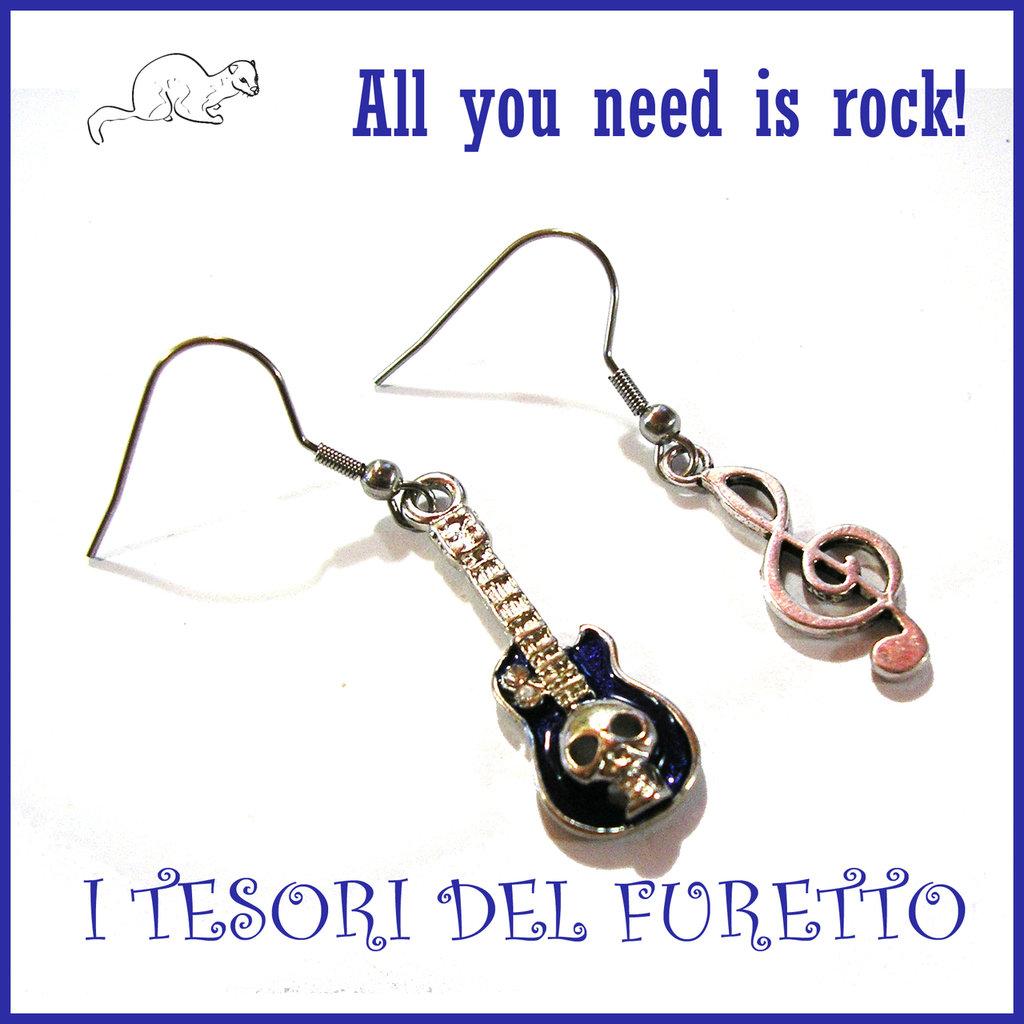 """Orecchini """" all you need is rock! """"chiave di violino e chitarra Charms idea regalo"""