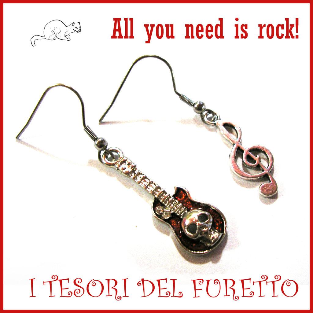 """Orecchini """" all you need is rock! """"Rosso chiave di violino e chitarra Charms idea regalo"""