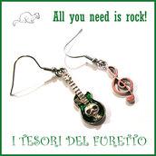 """Orecchini """" all you need is rock! """"Verde chiave di violino e chitarra Charms idea regalo"""