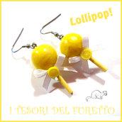 """Orecchini """" Lollipop """" limone lecca lecca chupa chups Fimo cernit Kawaii idea regalo Natale primavera estate"""