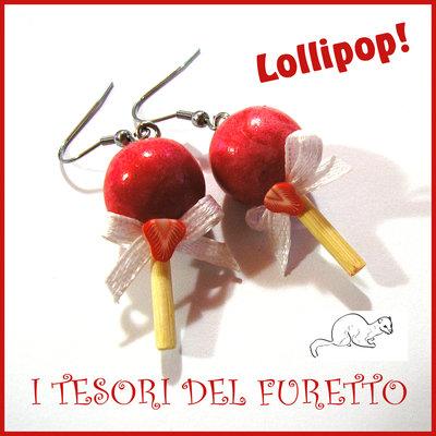 """Orecchini """" Lollipop """" fragola lecca lecca chupa chups Fimo cernit Kawaii idea regalo Natale primavera estate"""