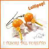 """Orecchini """" Lollipop """" arancio lecca lecca chupa chups Fimo cernit Kawaii idea regalo Natale primavera estate"""