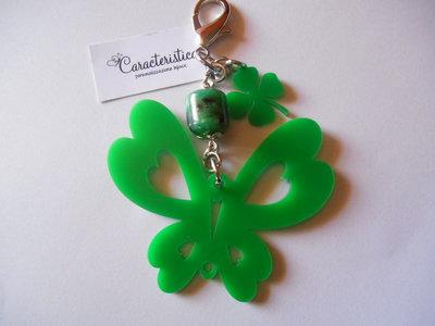 Portachiavi farfalla in plexiglass verde