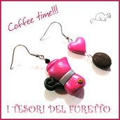 """Orecchini """" Coffee time """" caffè caffetteria moka chicco idea regalo Natale barista Fimo cernit clip premo"""