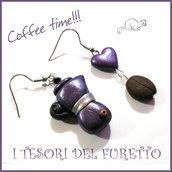 """Orecchini """" Coffee time """" viola caffè caffetteria moka chicco idea regalo Natale barista Fimo cernit clip premo"""