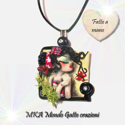 Cammeo in Fimo e collanina inclusa della collezione Geishe - Aimi
