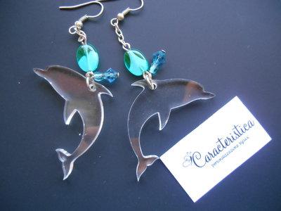 Orecchini delfino ciondolo plexiglass trasparente