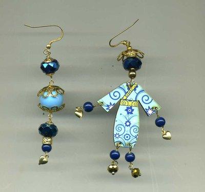 Orecchini pendenti con cinesino turchese e blu