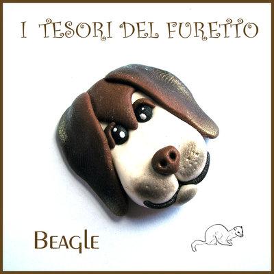 """Applicazione  bomboniera """" Doghy Doghy """" mod. Beagle cane cagnolino   Fimo cernit kawaii battesimo comunione matrimonio decorazione portaconfetti segnaposto cresima magnete"""