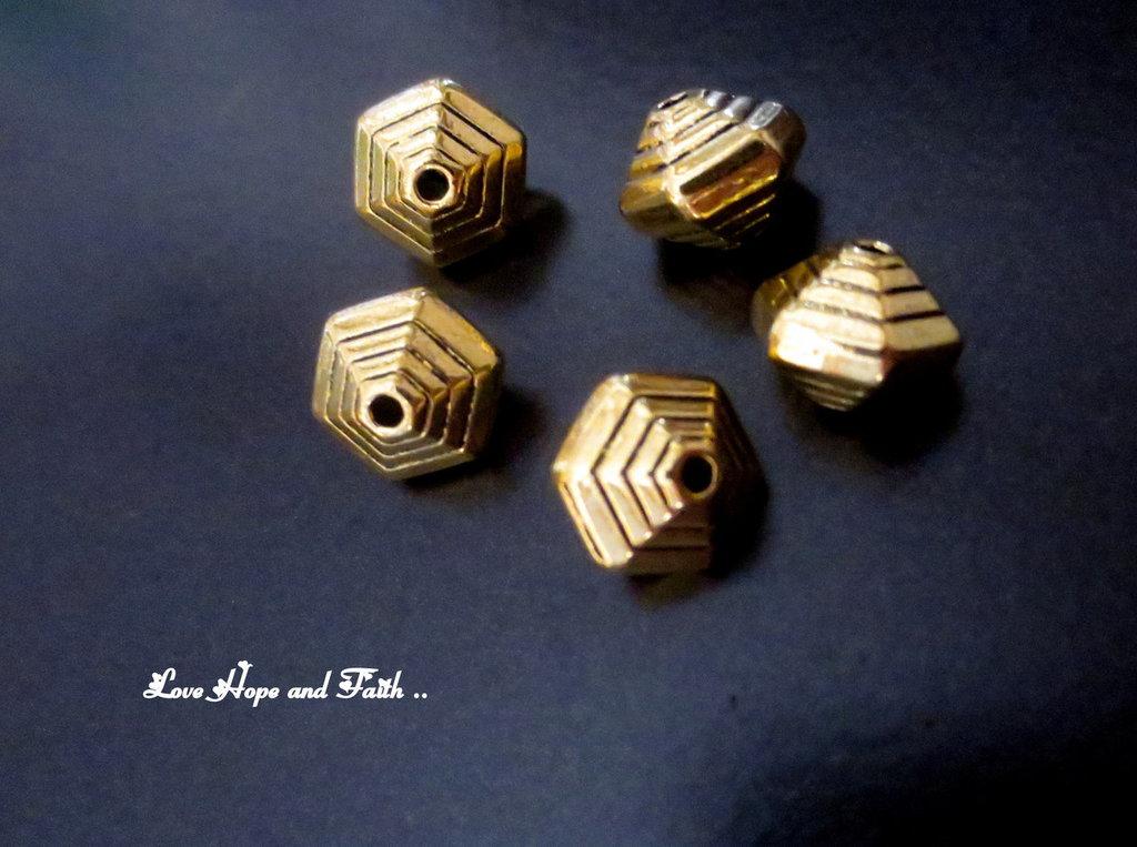 LOTTO 15 perle/distanziatori oro (12x10 mm) (cod.New)