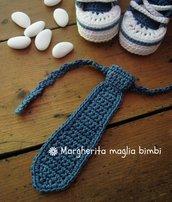 Cravatta/cravattino color jeans scuro per bambino - fatto a mano - uncinetto - Battesimo