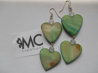 Orecchini cuore grande in madreperla verde