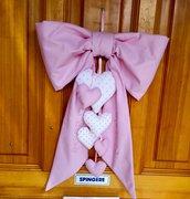 Fiocco di nascita imbottito rosa  ricamato a mano, coccarda, annuncio di nascita