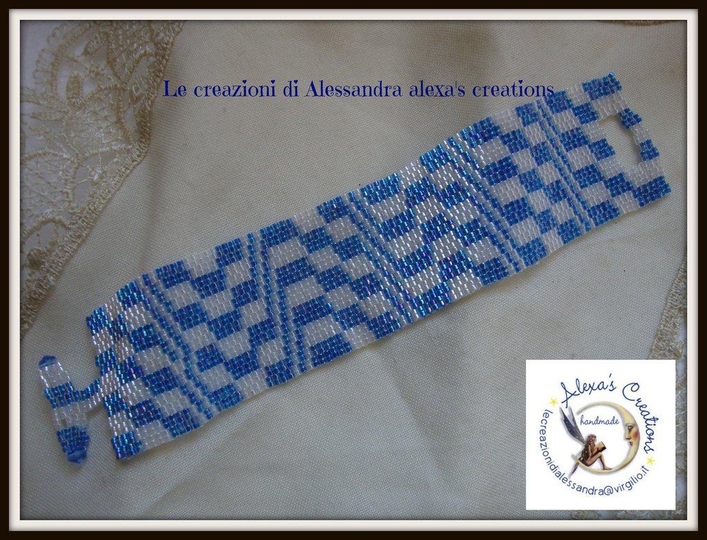 bracciale azzurro bianco Peyote