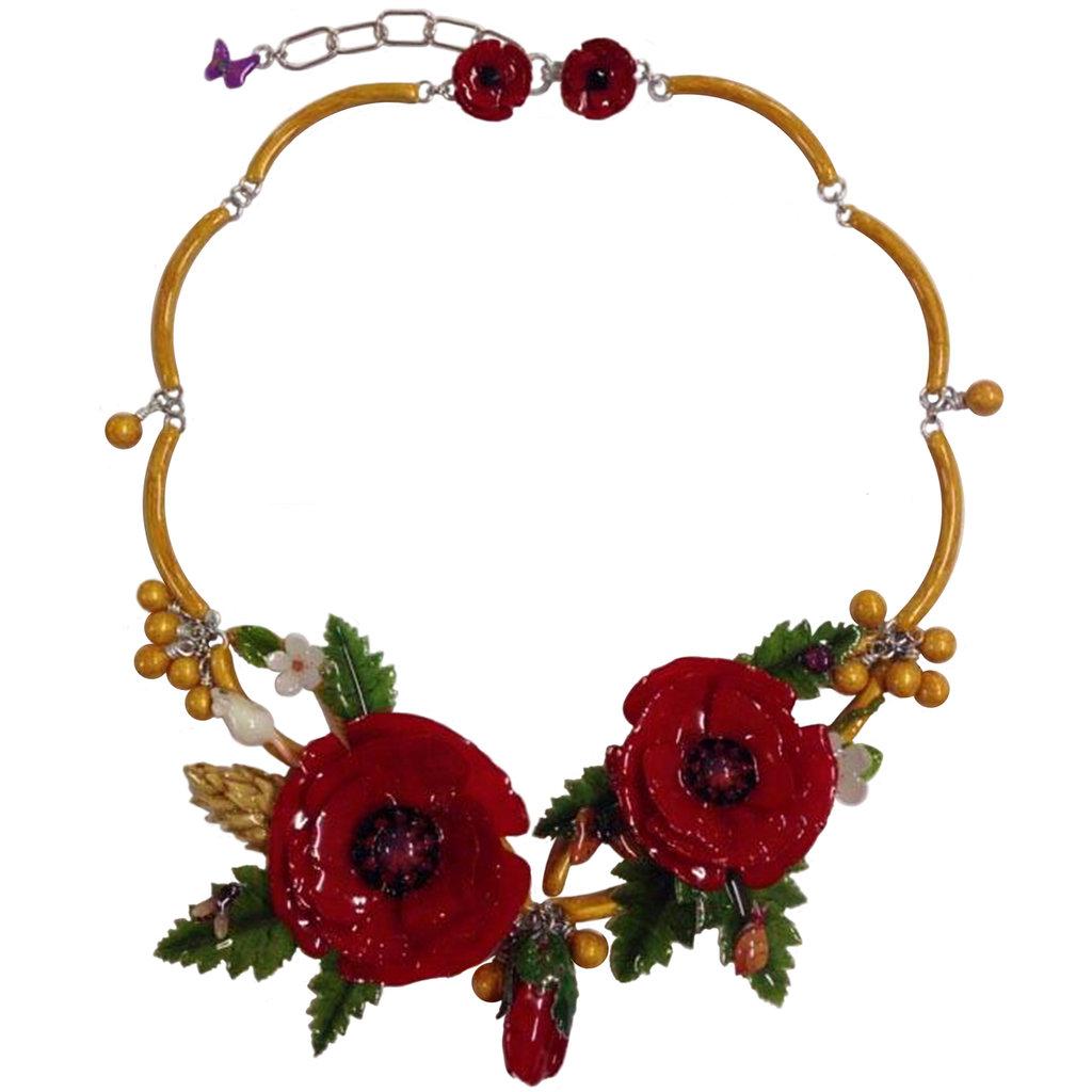 COLLIER PAPAVERI - Realizzato artigianalmente con serigrafie di fiori, foglie, piccoli insetti, un minuscolo topolino di ceramica e smalti a cottura.