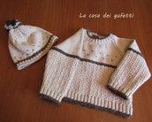 Completo maglioncino con cappello in morbidissima lana color nocciola