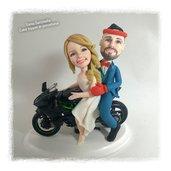 Cake topper sposi mignon in moto