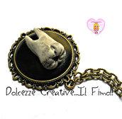 Collana Cammeo - Goth - Dark - Dente estratto sfondo nero color bronzo