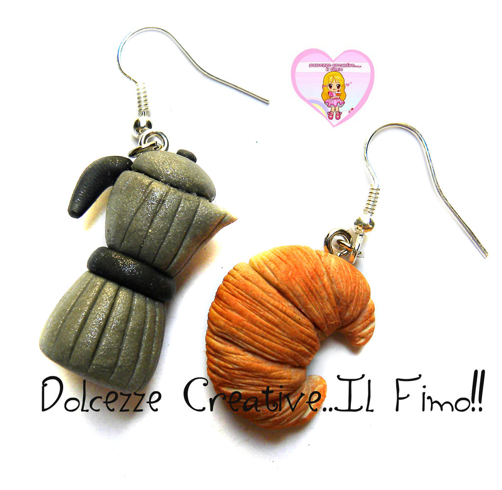 Orecchini Caffettiera e cornetto - croissant - idea regalo handmade fimo