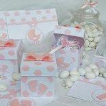 Bomboniera scatolina portaconfetti a pois rosa per battesimo o nascita