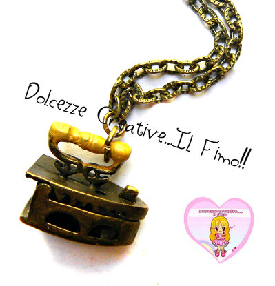 Collana Ferro da stiro - idea regalo sarta - miniature handmade kawaii