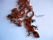 Collana con ciondolo geko in plexiglass  camouflage