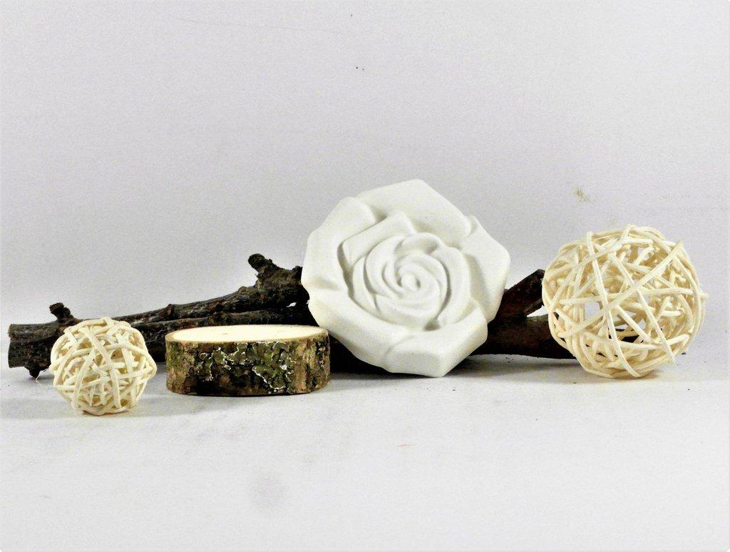 Rosa in gesso ceramico - gessetto profumato, profuma ambiente, con scatola fatta a nano