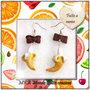 Orecchini in Fimo a monachella pendenti collezione Frutta - Banane sbucciate