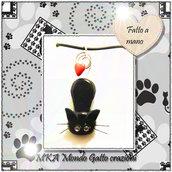 Ciondolo in Fimo e Metallo con collanina in finto Caucciù collezione Cat my Love - I love You