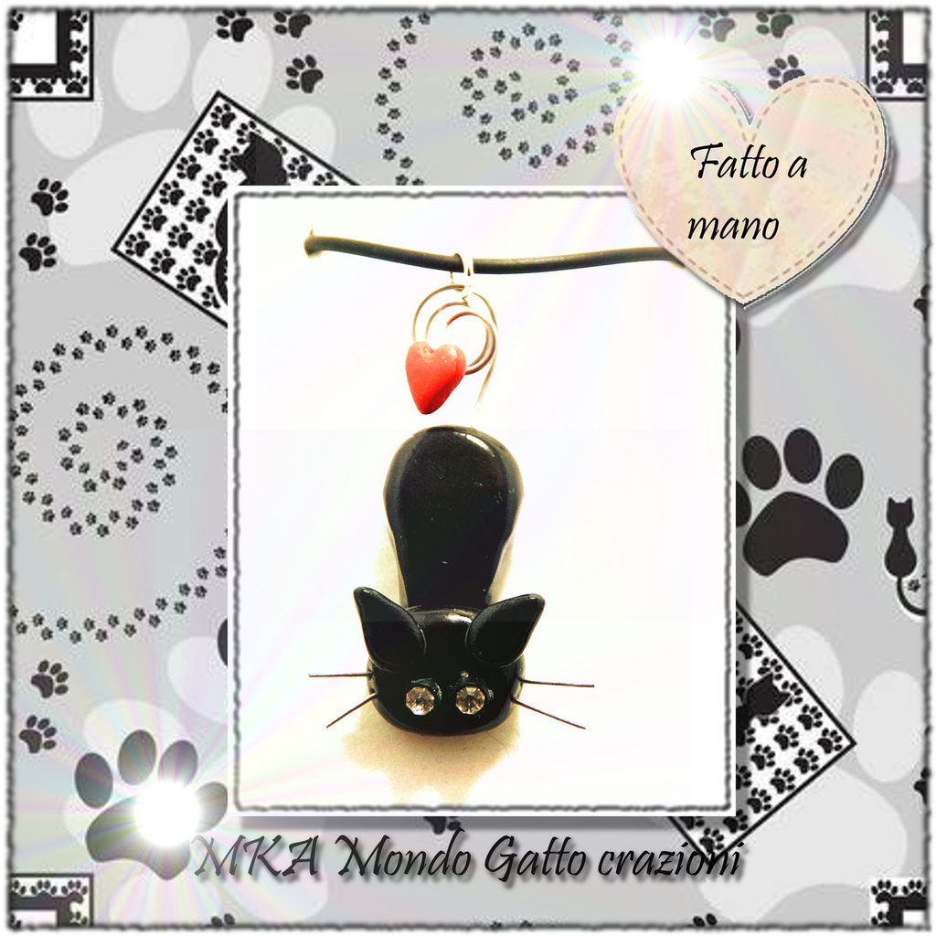 Ciondolo in Fimo e Metallo con collanina in finto Caucciù collezione Cat my Love - I love You