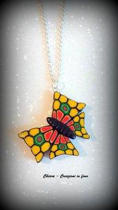 Collana in fimo handmade farfalla di murrine etnica elegante idea regalo donna