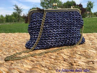 Pochette clic clac blu sfumato.