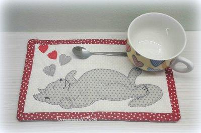 Tovaglietta colazione con gattino ricamato