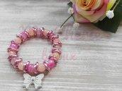 Bracciale con pietre dure naturali rosa e nodini in alluminio