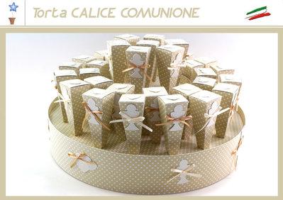 bomboniera torta con 36 astucci porta confetti con applicazione calice