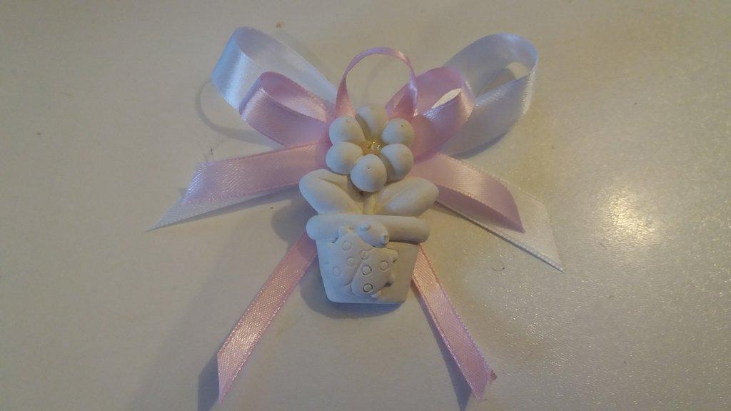 bomboniera segnaposto piantina fiore con coccinella piccola