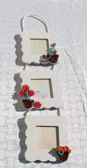 Portafoto tris vasi fiori misti rosso