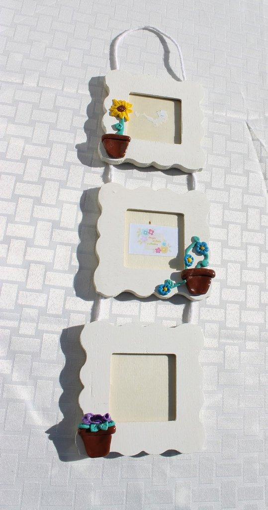 Portafoto cornicetta vaso di fiori colori mix