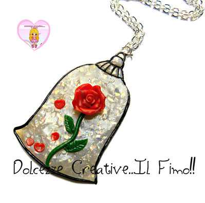 Collana Rosa incantata - La bella e la bestia - HANDMADE - kawaii idea regalo