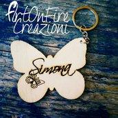 Portachiavi farfalla in legno