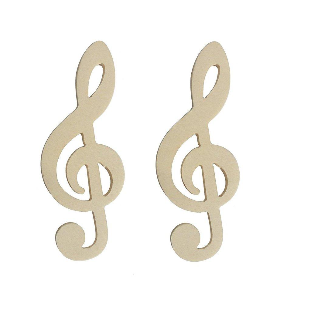 Chiave di violino in legno per il fai da te' hobby segnaposto 2 pz