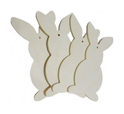 Sagoma Coniglietto Fai da te in legno da decorare 4 pz